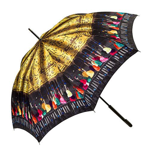 מטרייה מעוטרת בדגם רקמת גדילים