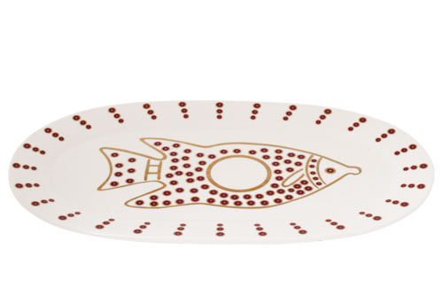 צלחת קרמיקה לדגים – זהב בורדו