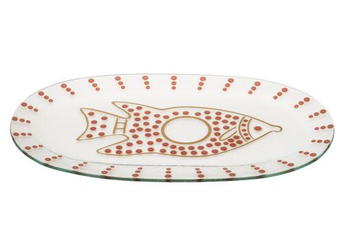 צלחת זכוכית לדגים – בורדו