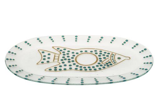 צלחת זכוכית לדגים – טורקיז