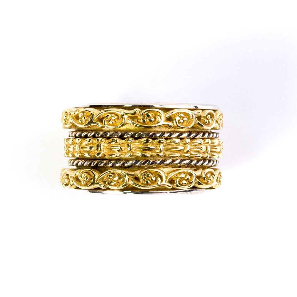 טבעת ענפי זית, כסף מצופה זהב