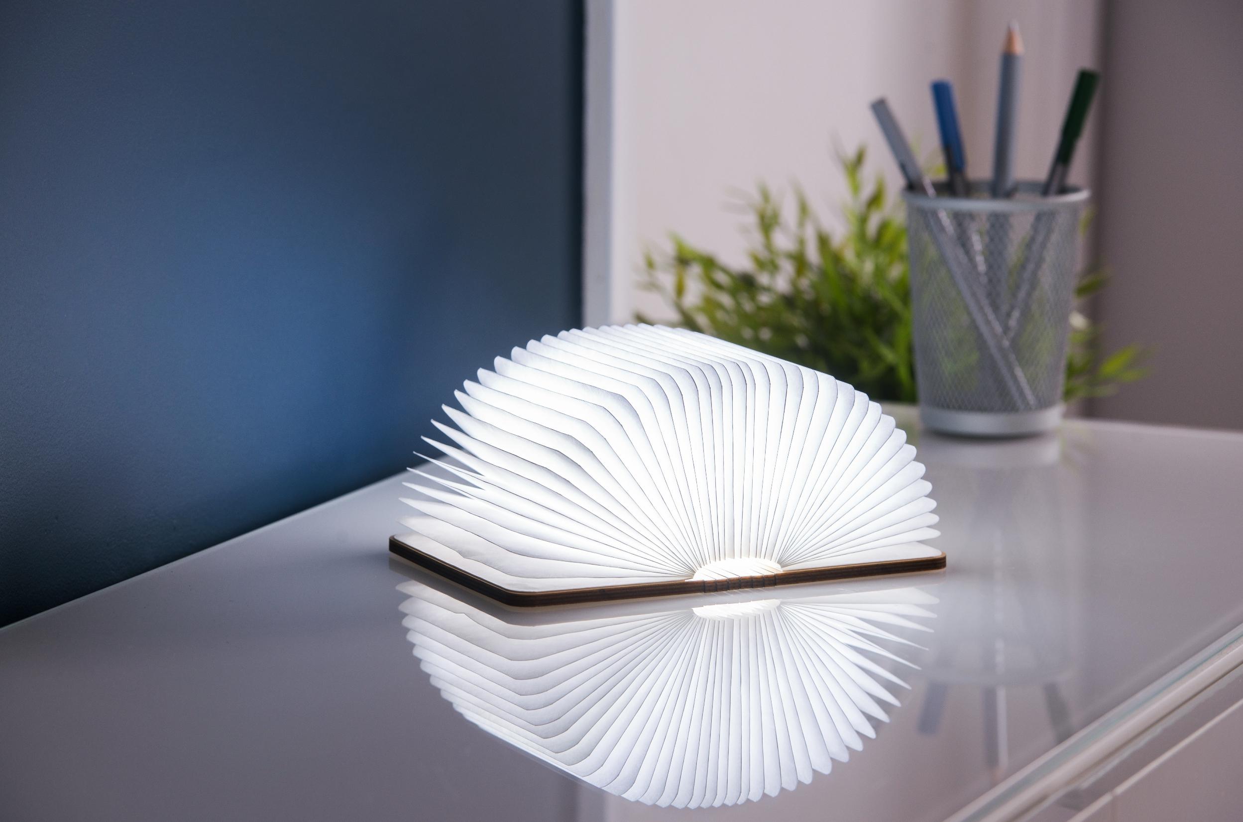 מנורת ספר בכריכת עץ