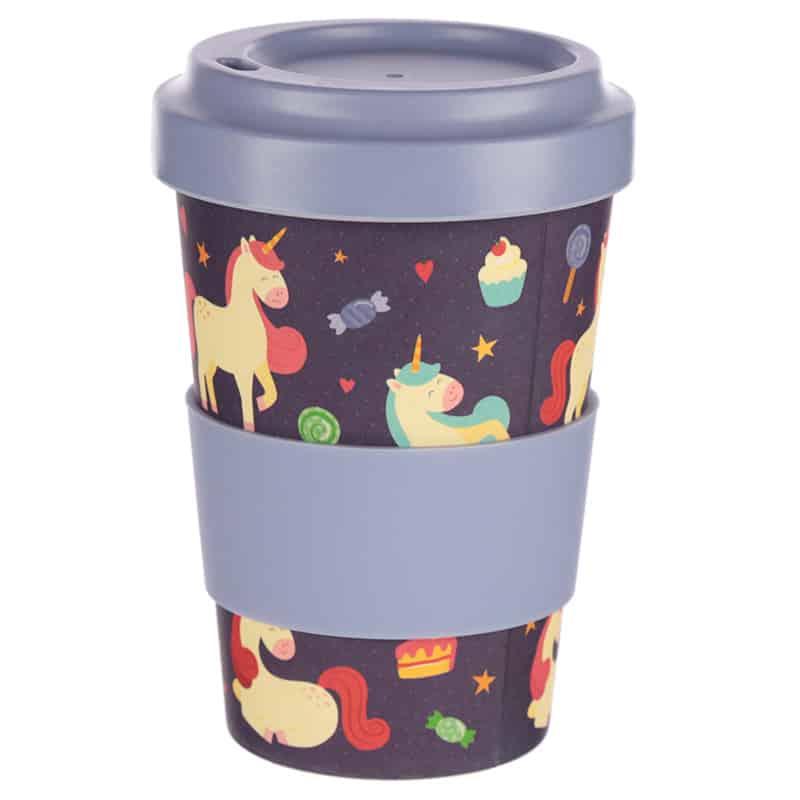 כוס נסיעות מבמבוק עם מכסה – חדי-קרן וחלומות מתוקים