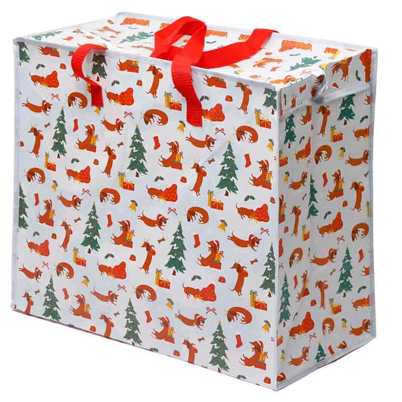 תיק אחסון עם רוכסן – כלבים בשלג חג המולד